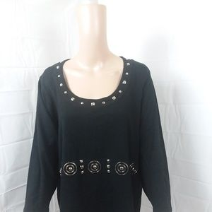 Requirements Top 3X Black Embellished 3/4 Sleeve